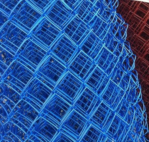 Сетка плетеная в ПВХ Рабица 50х50х2,2 рулон 1,5х10 м синяя